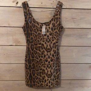 Cheetah print, sequined SHORT dress